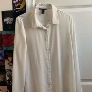 White long sleeve button down blouse